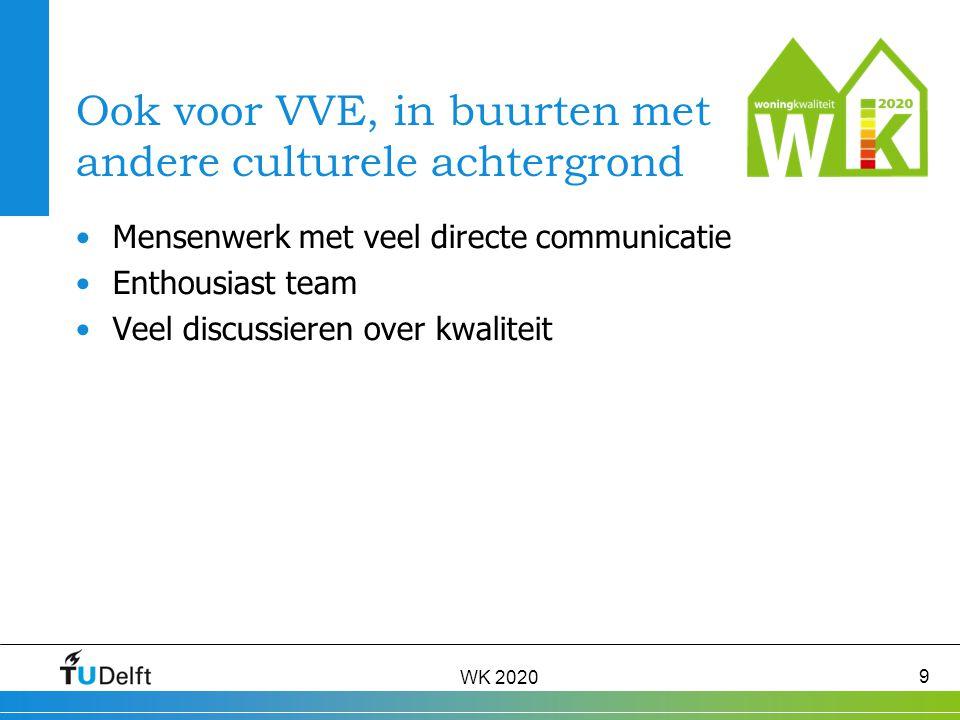 WK 2020 9 Ook voor VVE, in buurten met andere culturele achtergrond Mensenwerk met veel directe communicatie Enthousiast team Veel discussieren over kwaliteit