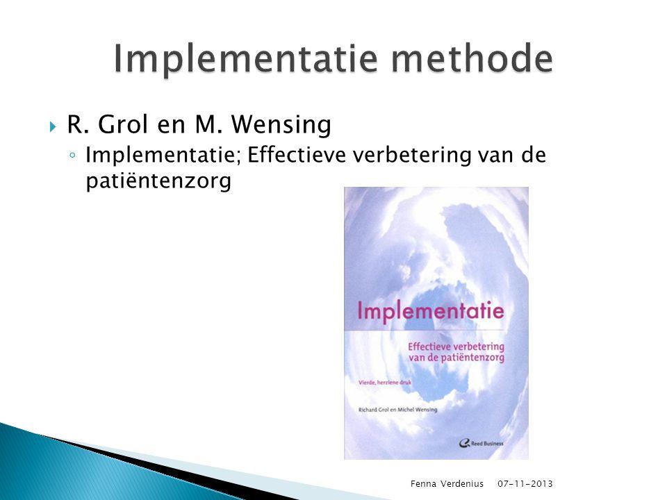  R. Grol en M. Wensing ◦ Implementatie; Effectieve verbetering van de patiëntenzorg 07-11-2013 Fenna Verdenius