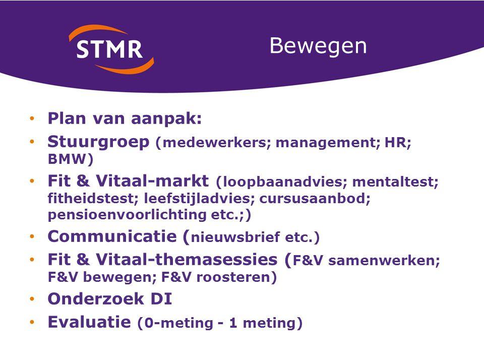 Bewegen Plan van aanpak: Stuurgroep (medewerkers; management; HR; BMW) Fit & Vitaal-markt (loopbaanadvies; mentaltest; fitheidstest; leefstijladvies; cursusaanbod; pensioenvoorlichting etc.;) Communicatie ( nieuwsbrief etc.) Fit & Vitaal-themasessies ( F&V samenwerken; F&V bewegen; F&V roosteren) Onderzoek DI Evaluatie (0-meting - 1 meting)