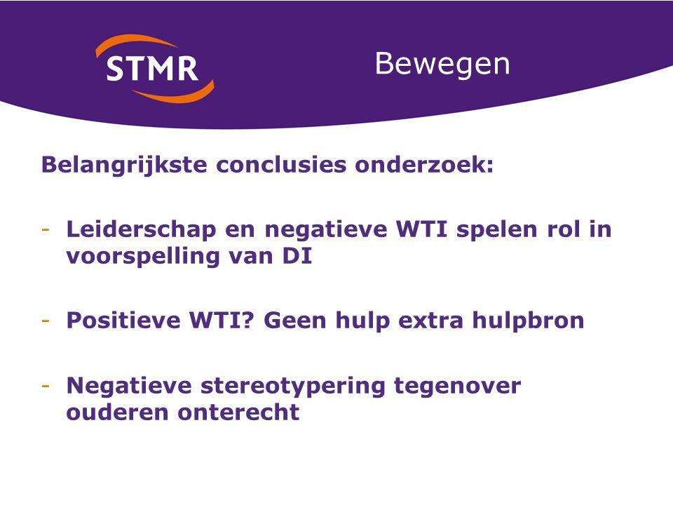 Bewegen Belangrijkste conclusies onderzoek: -Leiderschap en negatieve WTI spelen rol in voorspelling van DI -Positieve WTI.