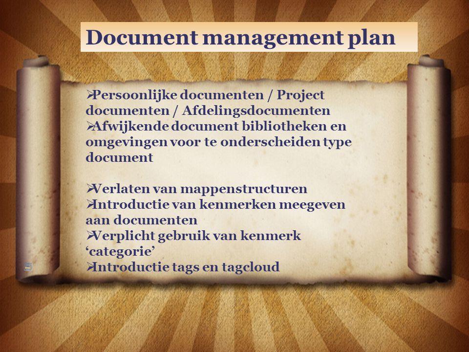 Document management plan  Persoonlijke documenten / Project documenten / Afdelingsdocumenten  Afwijkende document bibliotheken en omgevingen voor te