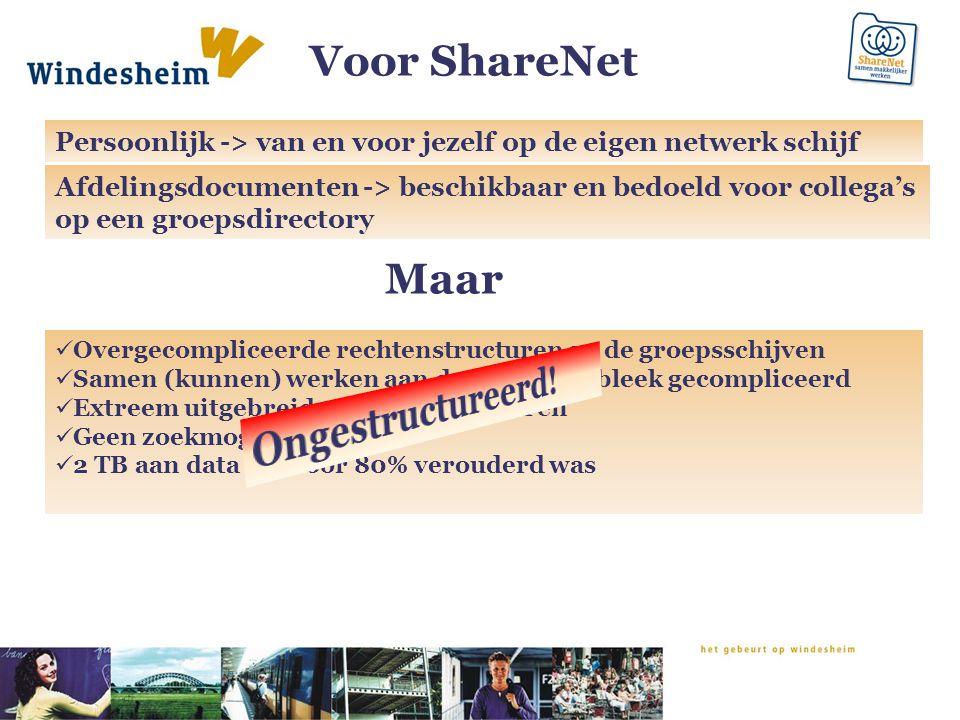 Voor ShareNet Persoonlijk -> van en voor jezelf op de eigen netwerk schijf Afdelingsdocumenten -> beschikbaar en bedoeld voor collega's op een groepsd