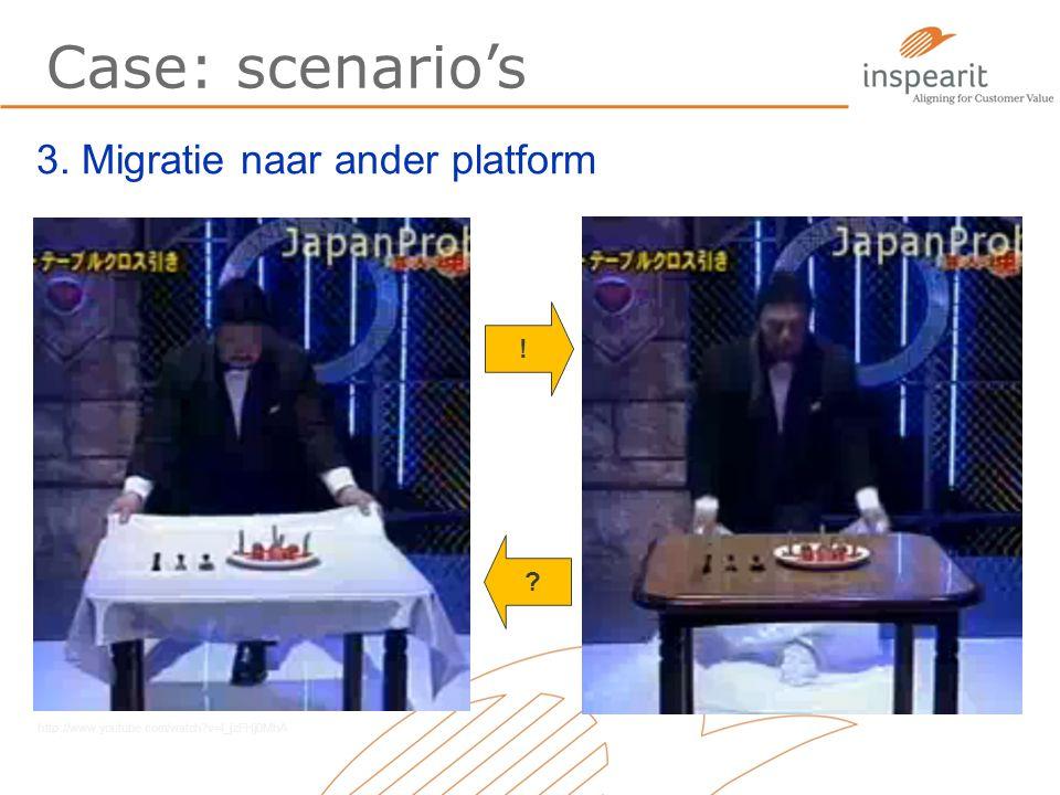 Case: scenario's 3. Migratie naar ander platform ! ? http://www.youtube.com/watch?v=l_jzFHj0MhA