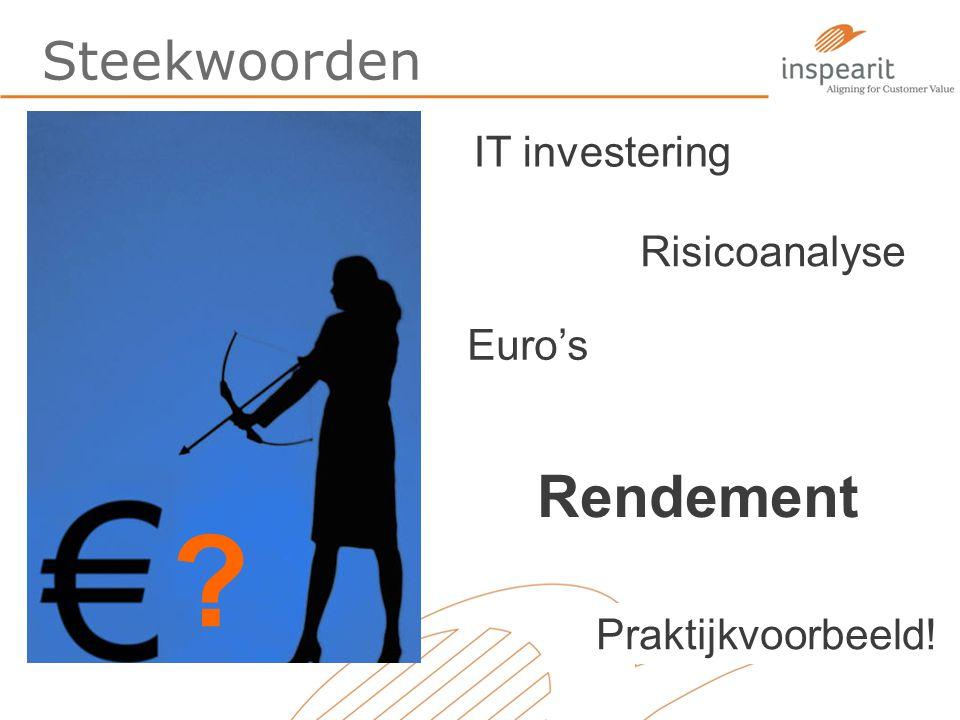 Steekwoorden ? IT investering Risicoanalyse Euro's Praktijkvoorbeeld! Rendement