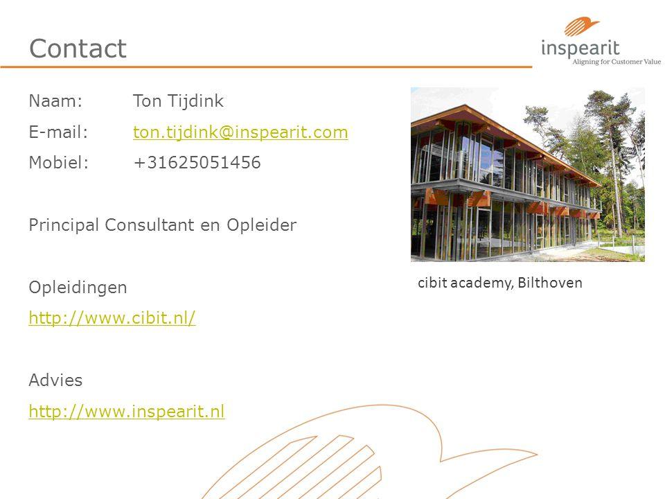 Contact Naam:Ton Tijdink E-mail: ton.tijdink@inspearit.comton.tijdink@inspearit.com Mobiel: +31625051456 Principal Consultant en Opleider Opleidingen