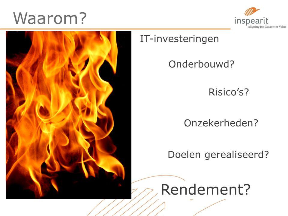 Waarom? IT-investeringen Onderbouwd? Onzekerheden? Rendement? Doelen gerealiseerd? Risico's?