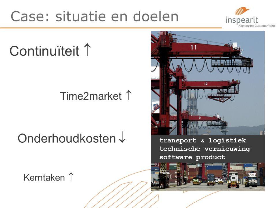 Case: situatie en doelen transport & logistiek technische vernieuwing software product Continuïteit  Time2market  Onderhoudkosten  Kerntaken 