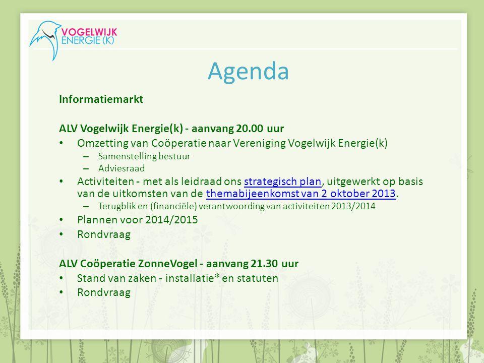 Agenda Informatiemarkt ALV Vogelwijk Energie(k) - aanvang 20.00 uur Omzetting van Coöperatie naar Vereniging Vogelwijk Energie(k) – Samenstelling best