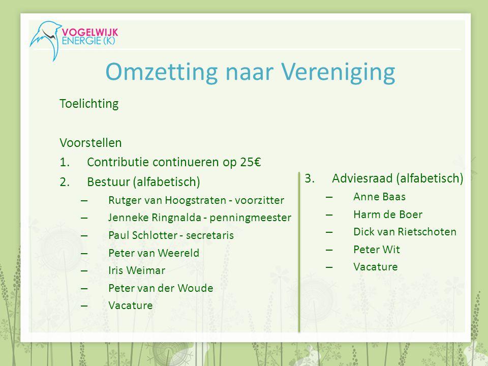 Omzetting naar Vereniging Toelichting Voorstellen 1.Contributie continueren op 25€ 2.Bestuur (alfabetisch) – Rutger van Hoogstraten - voorzitter – Jen