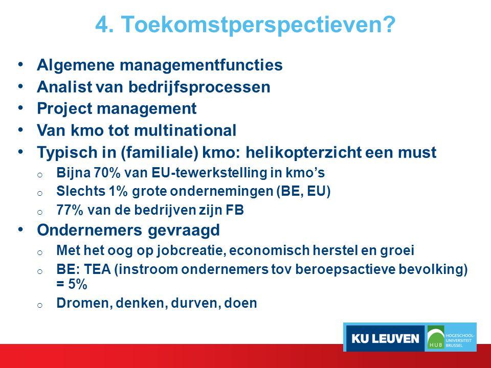 4. Toekomstperspectieven? Algemene managementfuncties Analist van bedrijfsprocessen Project management Van kmo tot multinational Typisch in (familiale