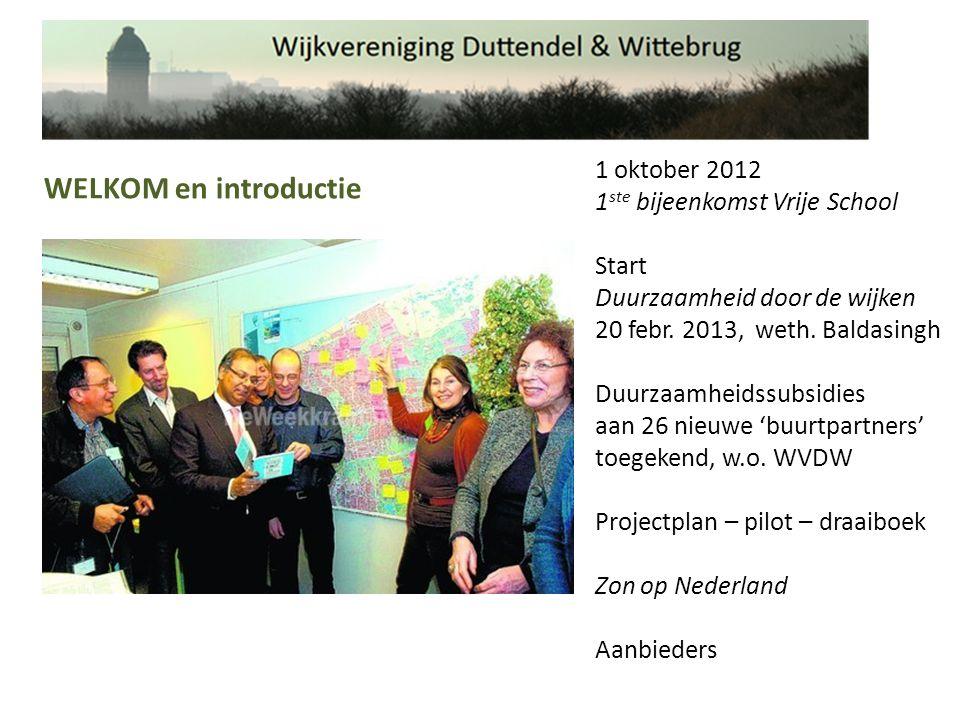1 oktober 2012 1 ste bijeenkomst Vrije School Start Duurzaamheid door de wijken 20 febr.