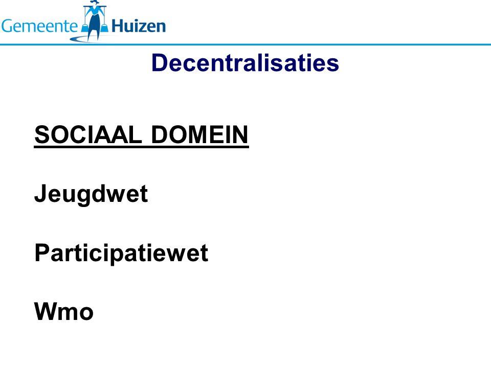 Decentralisaties SOCIAAL DOMEIN Jeugdwet Participatiewet Wmo