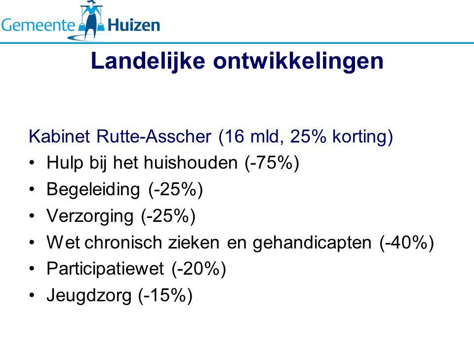 Landelijke ontwikkelingen Kabinet Rutte-Asscher (16 mld, 25% korting) Hulp bij het huishouden (-75%) Begeleiding (-25%) Verzorging (-25%) Wet chronisch zieken en gehandicapten (-40%) Participatiewet (-20%) Jeugdzorg (-15%)