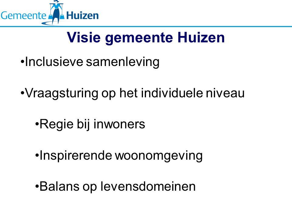 Visie gemeente Huizen Inclusieve samenleving Vraagsturing op het individuele niveau Regie bij inwoners Inspirerende woonomgeving Balans op levensdomeinen