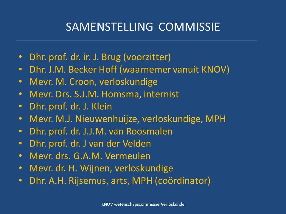 SAMENSTELLING COMMISSIE Dhr. prof. dr. ir. J. Brug (voorzitter) Dhr. J.M. Becker Hoff (waarnemer vanuit KNOV) Mevr. M. Croon, verloskundige Mevr. Drs.