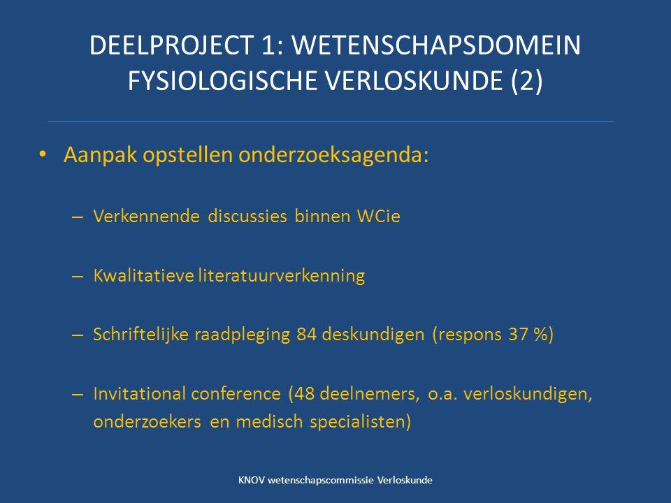 DEELPROJECT 1: WETENSCHAPSDOMEIN FYSIOLOGISCHE VERLOSKUNDE (3) Resultaat: – Onderzoeksagenda met drie hoofdthema's die leidend zijn voor onderzoek in komende jaren: Gezondheidsbevorderende interventies Risicoselectie Toegankelijkheid en organisatie van de eerstelijns verloskundige zorg – Hoofdthema's zijn nader uitgewerkt en beschreven KNOV wetenschapscommissie Verloskunde