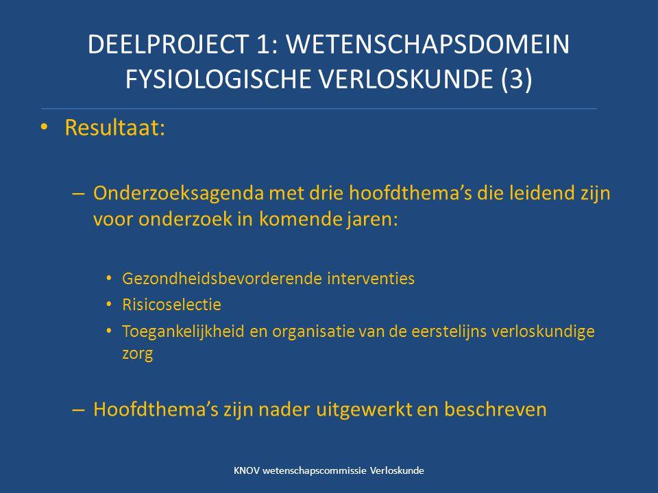 DEELPROJECT 1: WETENSCHAPSDOMEIN FYSIOLOGISCHE VERLOSKUNDE (3) Resultaat: – Onderzoeksagenda met drie hoofdthema's die leidend zijn voor onderzoek in