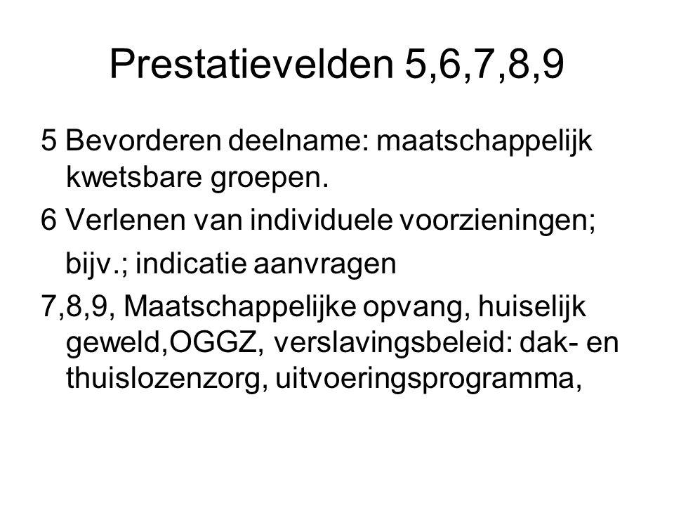 Prestatievelden 5,6,7,8,9 5 Bevorderen deelname: maatschappelijk kwetsbare groepen. 6 Verlenen van individuele voorzieningen; bijv.; indicatie aanvrag