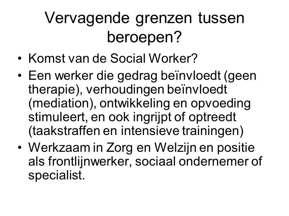 Vervagende grenzen tussen beroepen? Komst van de Social Worker? Een werker die gedrag beïnvloedt (geen therapie), verhoudingen beïnvloedt (mediation),
