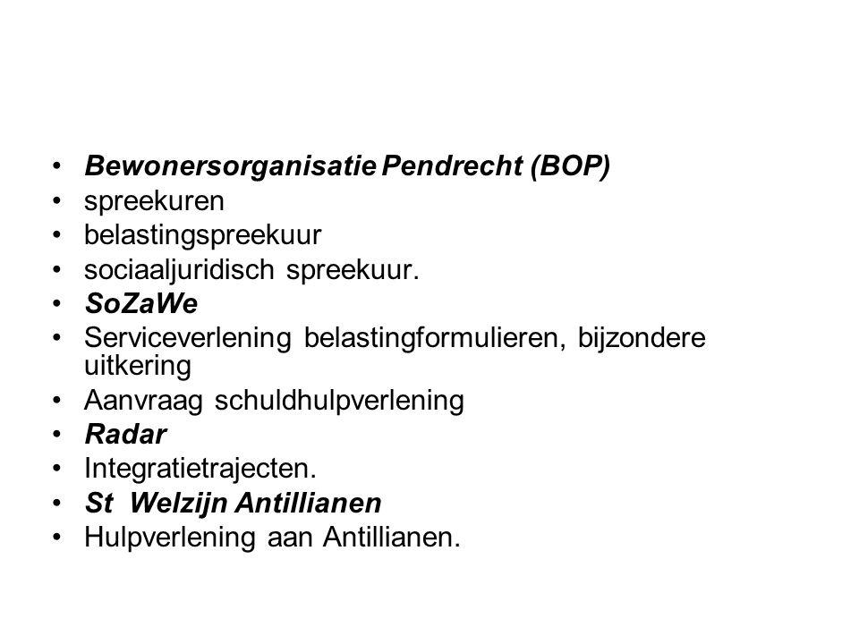 Bewonersorganisatie Pendrecht (BOP) spreekuren belastingspreekuur sociaaljuridisch spreekuur. SoZaWe Serviceverlening belastingformulieren, bijzondere