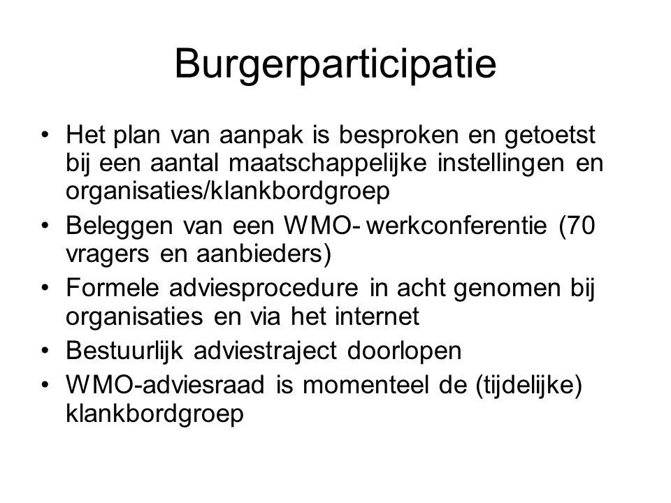 WMO beleid in Rotterdam Het gemeentelijke beleid bevatte al veel van de doelstelling van het WMO beleid, b.v.