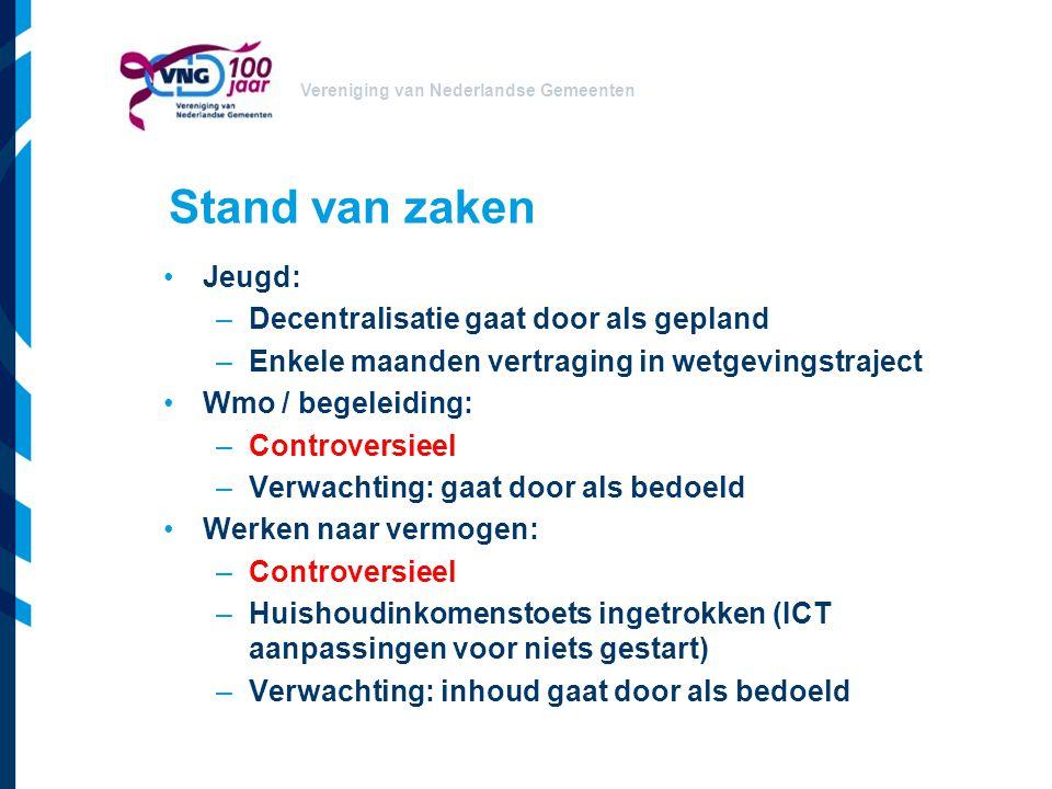 Vereniging van Nederlandse Gemeenten Stand van zaken Jeugd: –Decentralisatie gaat door als gepland –Enkele maanden vertraging in wetgevingstraject Wmo