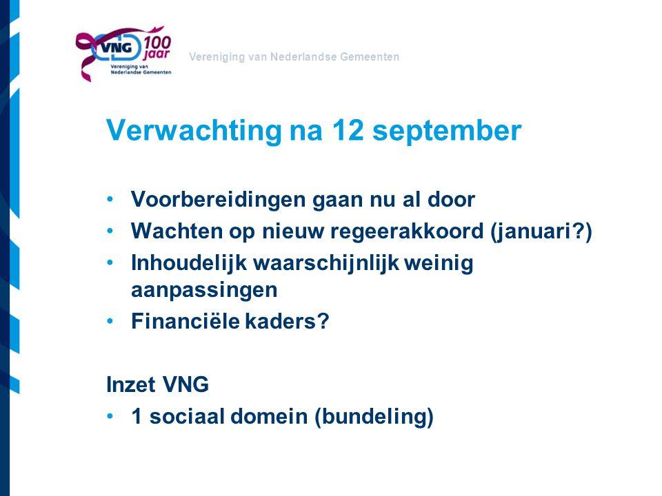 Vereniging van Nederlandse Gemeenten Verwachting na 12 september Voorbereidingen gaan nu al door Wachten op nieuw regeerakkoord (januari?) Inhoudelijk