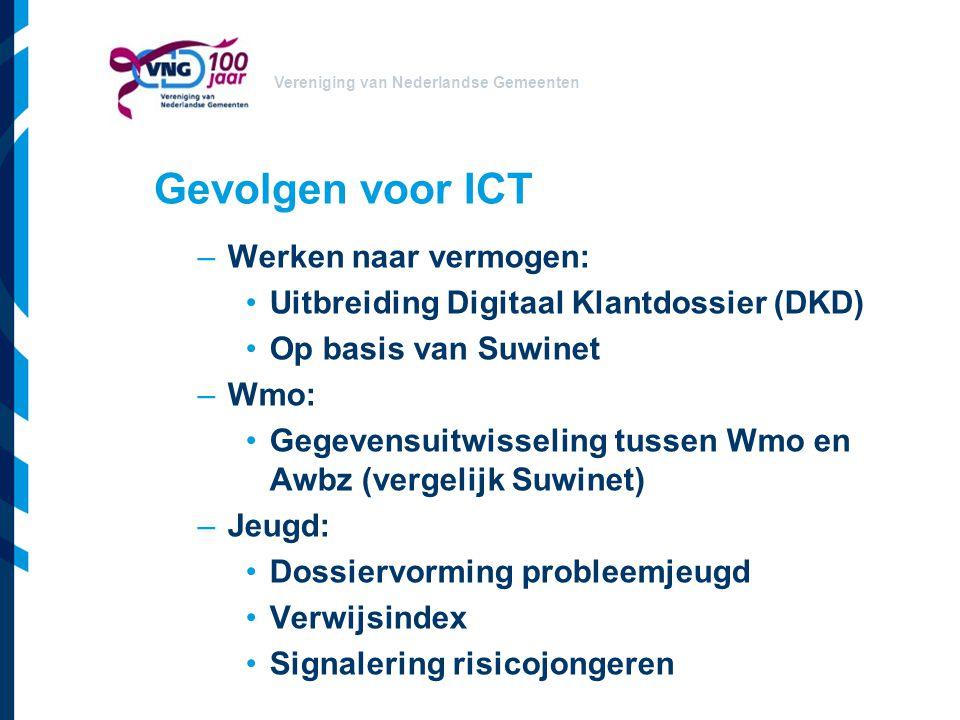 Vereniging van Nederlandse Gemeenten Gevolgen voor ICT –Werken naar vermogen: Uitbreiding Digitaal Klantdossier (DKD) Op basis van Suwinet –Wmo: Gegev