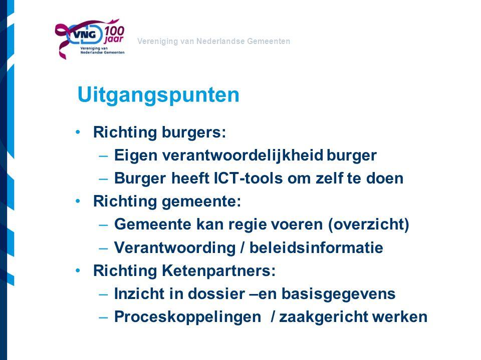 Vereniging van Nederlandse Gemeenten Uitgangspunten Richting burgers: –Eigen verantwoordelijkheid burger –Burger heeft ICT-tools om zelf te doen Richt