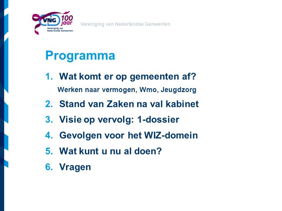 Vereniging van Nederlandse Gemeenten Conclusie De decentralisaties… grote impact voor gemeenten grote gevolgen voor de ICT Voorbereiding lijkt lang, maar is kort Slim doen = veel geld besparen Daarom: aan de slag!
