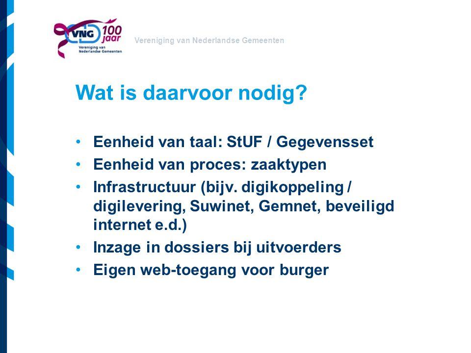 Vereniging van Nederlandse Gemeenten Wat is daarvoor nodig? Eenheid van taal: StUF / Gegevensset Eenheid van proces: zaaktypen Infrastructuur (bijv. d