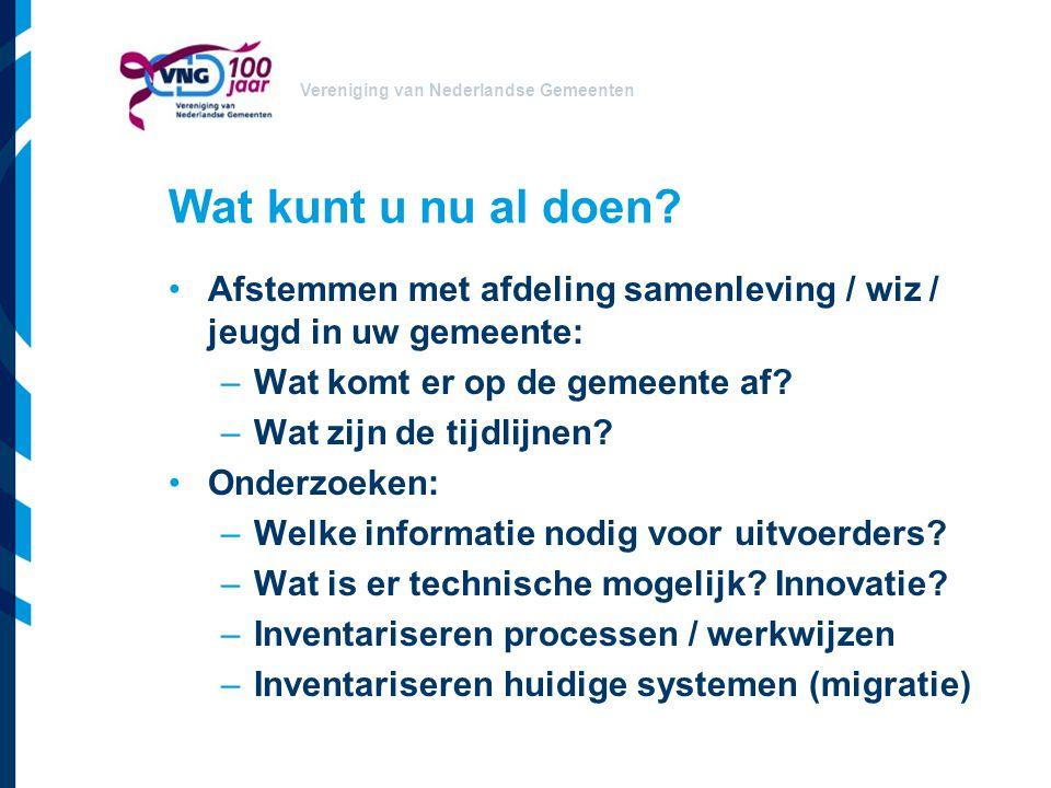 Vereniging van Nederlandse Gemeenten Wat kunt u nu al doen? Afstemmen met afdeling samenleving / wiz / jeugd in uw gemeente: –Wat komt er op de gemeen