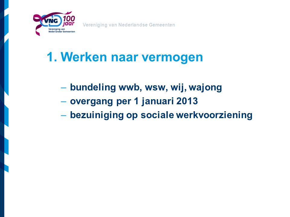 Vereniging van Nederlandse Gemeenten 1. Werken naar vermogen –bundeling wwb, wsw, wij, wajong –overgang per 1 januari 2013 –bezuiniging op sociale wer