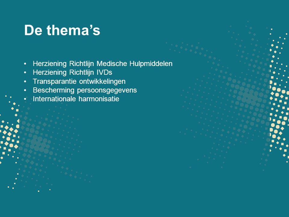 De thema's Herziening Richtlijn Medische Hulpmiddelen Herziening Richtlijn IVDs Transparantie ontwikkelingen Bescherming persoonsgegevens Internationa
