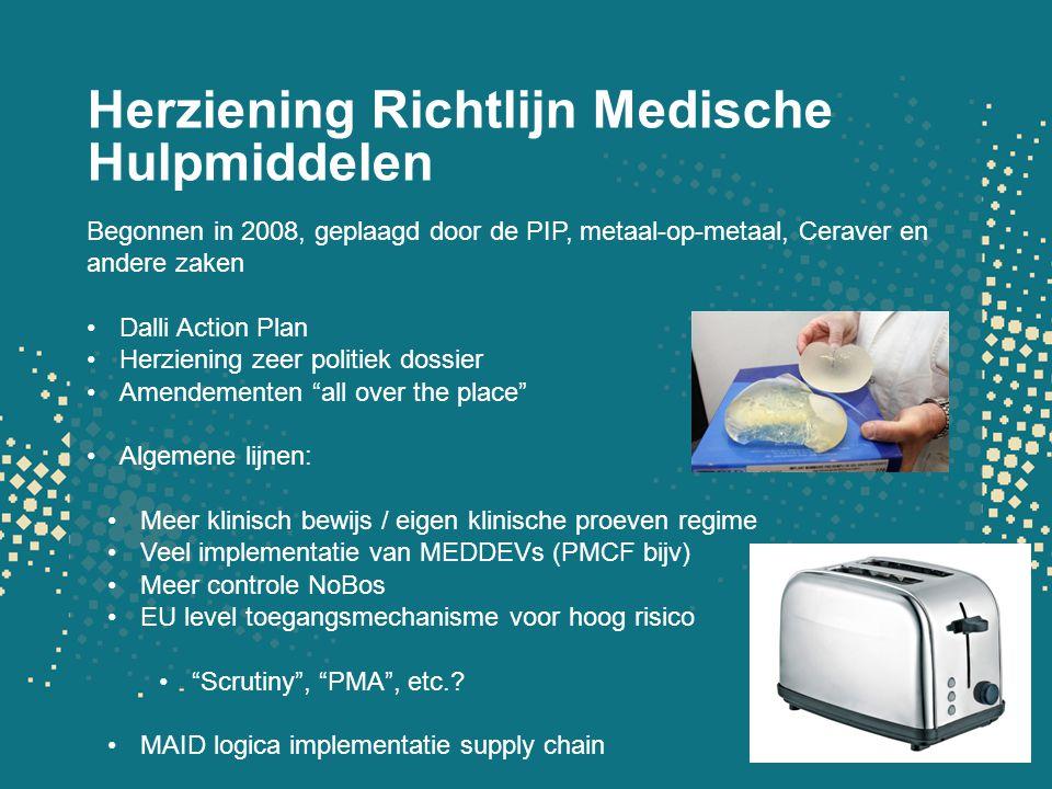 Herziening Richtlijn Medische Hulpmiddelen Begonnen in 2008, geplaagd door de PIP, metaal-op-metaal, Ceraver en andere zaken Dalli Action Plan Herzien