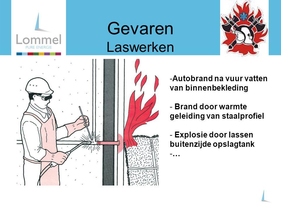 Gevaren Laswerken -Autobrand na vuur vatten van binnenbekleding - Brand door warmte geleiding van staalprofiel - Explosie door lassen buitenzijde opsl
