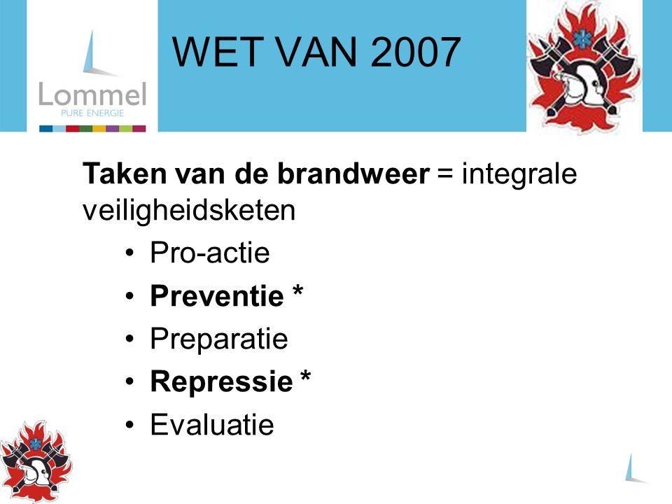 WET VAN 2007 Taken van de brandweer = integrale veiligheidsketen Pro-actie Preventie * Preparatie Repressie * Evaluatie