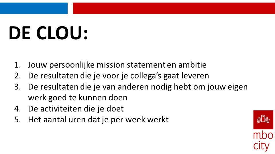 DE CLOU: 1.Jouw persoonlijke mission statement en ambitie 2.De resultaten die je voor je collega's gaat leveren 3.De resultaten die je van anderen nod