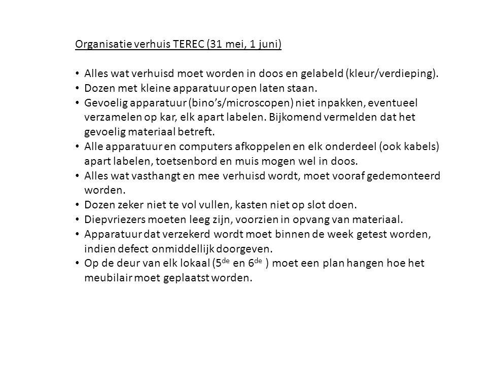 Organisatie verhuis TEREC (31 mei, 1 juni) Alles wat verhuisd moet worden in doos en gelabeld (kleur/verdieping).