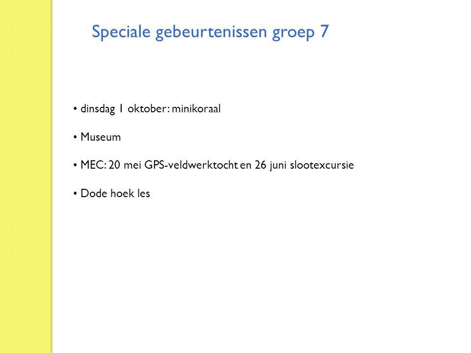 Speciale gebeurtenissen groep 7 dinsdag 1 oktober: minikoraal Museum MEC: 20 mei GPS-veldwerktocht en 26 juni slootexcursie Dode hoek les