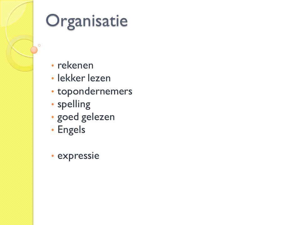Organisatie rekenen lekker lezen topondernemers spelling goed gelezen Engels expressie