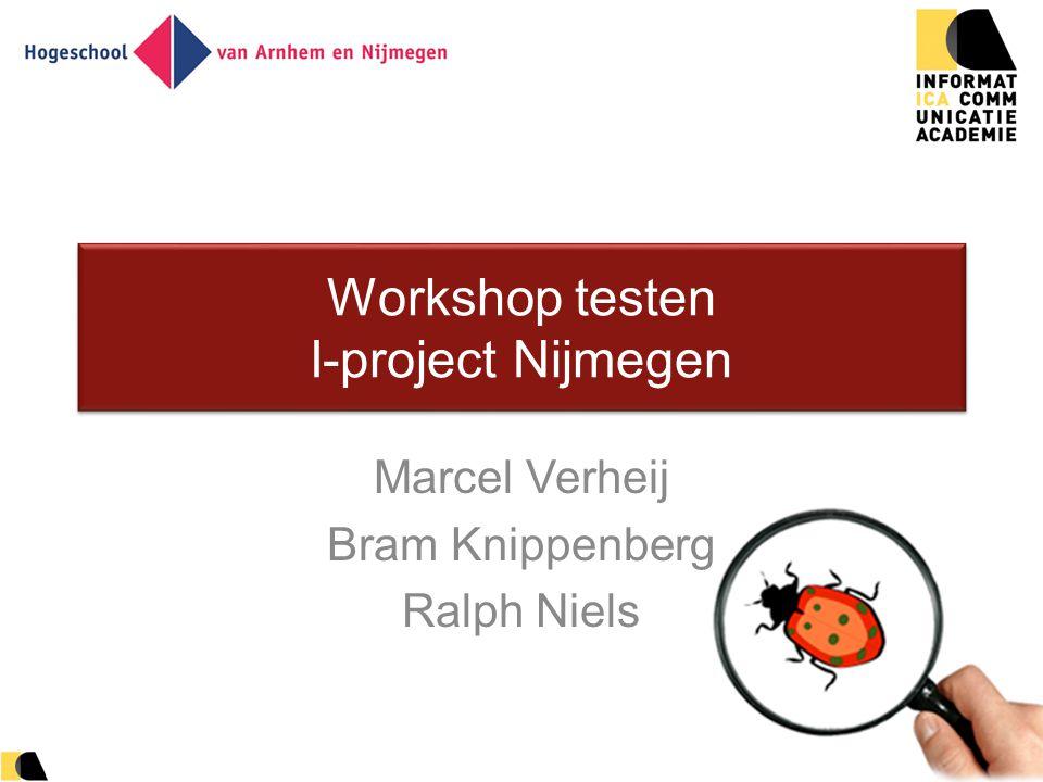 1 Workshop testen I-project Nijmegen Marcel Verheij Bram Knippenberg Ralph Niels