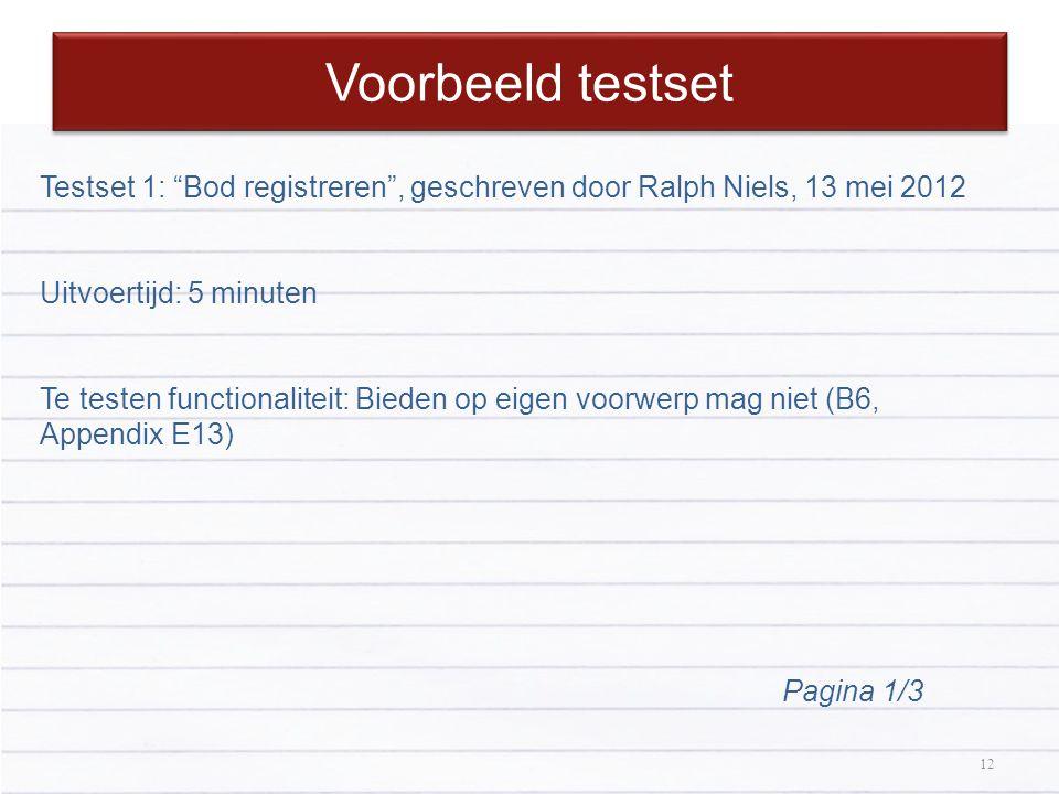 """12 Voorbeeld testset 12 Testset 1: """"Bod registreren"""", geschreven door Ralph Niels, 13 mei 2012 Uitvoertijd: 5 minuten Te testen functionaliteit: Biede"""