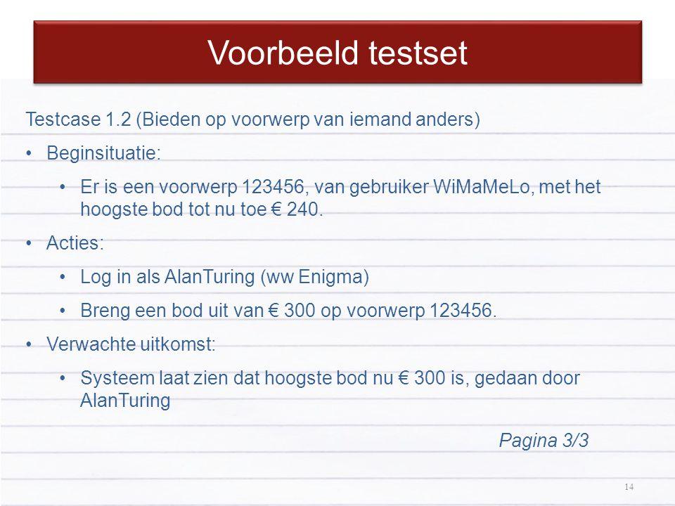14 Voorbeeld testset 14 Testcase 1.2 (Bieden op voorwerp van iemand anders) Beginsituatie: Er is een voorwerp 123456, van gebruiker WiMaMeLo, met het