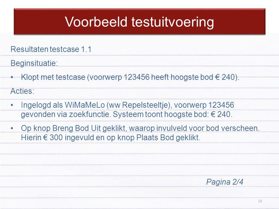 18 Voorbeeld testuitvoering 18 Resultaten testcase 1.1 Beginsituatie: Klopt met testcase (voorwerp 123456 heeft hoogste bod € 240). Acties: Ingelogd a