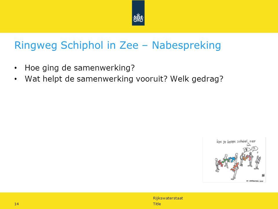 Rijkswaterstaat 14Title Ringweg Schiphol in Zee – Nabespreking Hoe ging de samenwerking? Wat helpt de samenwerking vooruit? Welk gedrag?