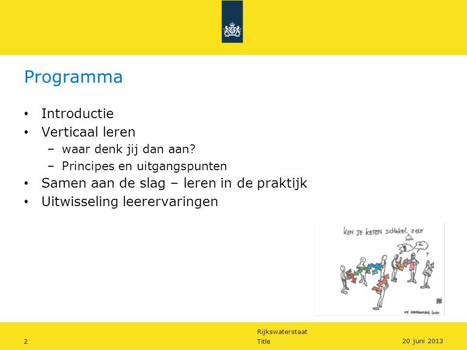 Rijkswaterstaat 3Title 20 juni 2013 Verticaal Leren – principes en uitgangspunten System in the room Feitelijk gedrag Urgentie Leerklimaat Transfer, inbedding