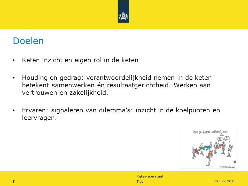 Rijkswaterstaat 5Title 20 juni 2013 Doelen Keten inzicht en eigen rol in de keten Houding en gedrag: verantwoordelijkheid nemen in de keten betekent samenwerken én resultaatgerichtheid.