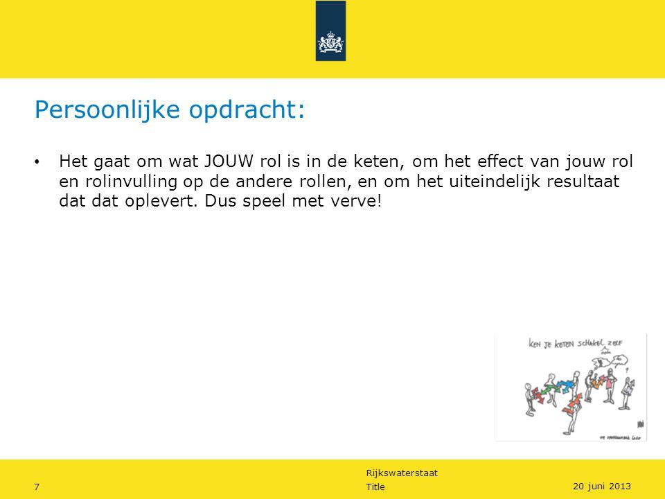 Rijkswaterstaat 7Title 20 juni 2013 Persoonlijke opdracht: Het gaat om wat JOUW rol is in de keten, om het effect van jouw rol en rolinvulling op de andere rollen, en om het uiteindelijk resultaat dat dat oplevert.