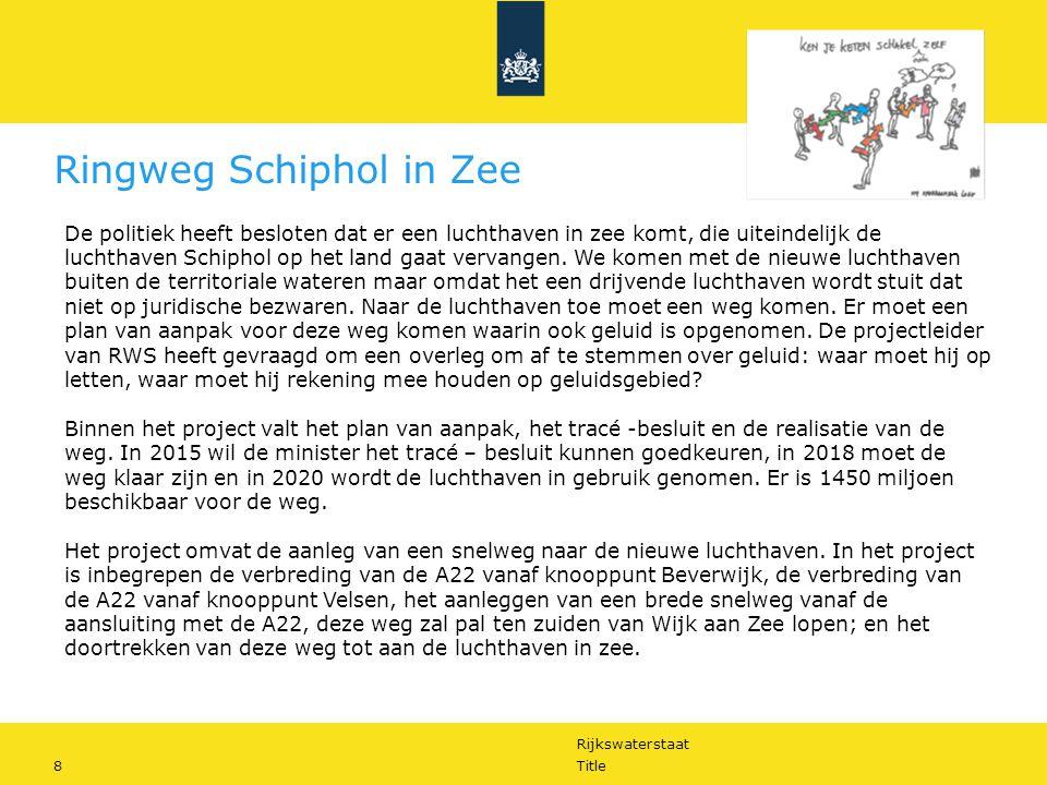 Rijkswaterstaat 8Title Ringweg Schiphol in Zee De politiek heeft besloten dat er een luchthaven in zee komt, die uiteindelijk de luchthaven Schiphol op het land gaat vervangen.